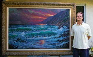 Alex Dzigurski II with on of his larger paintings