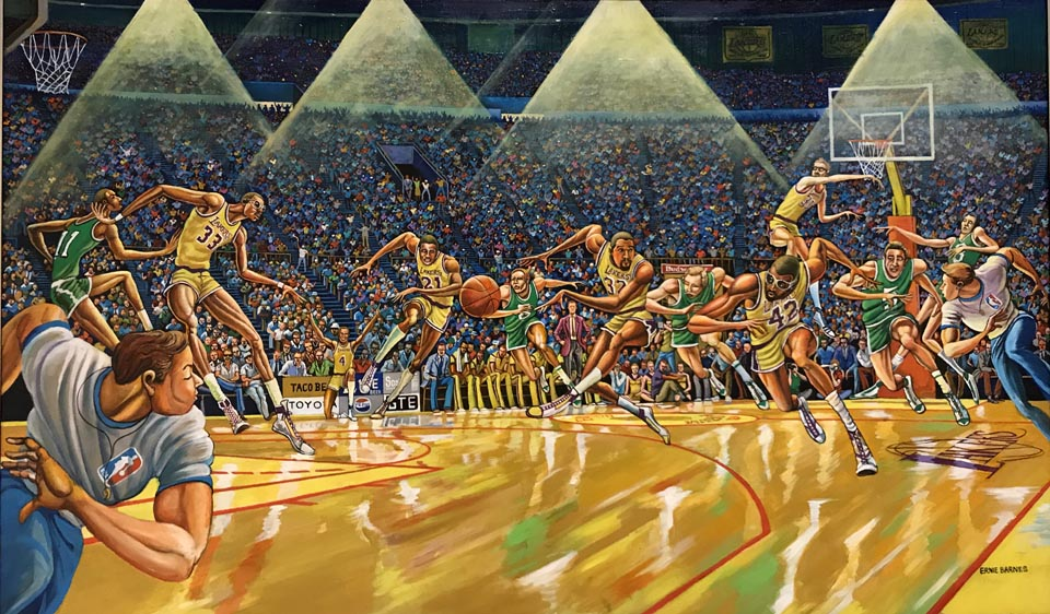 Fastbreak, 1987, commissioned by Lakers owner Jerry Buss in celebration of the team's NBA Championship that year.  The painting features Magic Johnson, Kareem Abdul Jabbar, James Worthy, Kurt Rambis and Michael Cooper.  Collection of the Los Angeles Lakers, Inc.