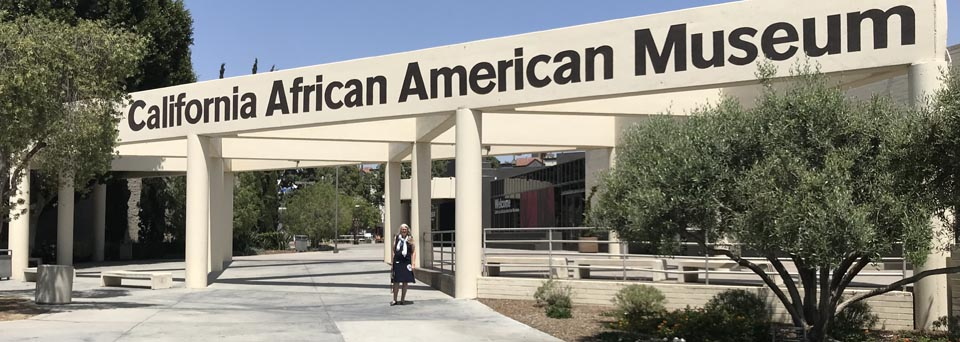 The California African American Museum, next door to the Los Angeles Coliseum
