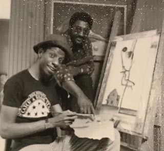 Photo of Ernie Barnes and Jimmy Walker ...  Ernie Barnes was the artist behind Jimmy Walker's Goodtimes character J.J.'s artistic pursuits.