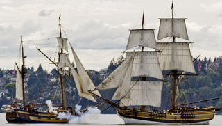 Bodga  Bay Lady Washington and Hawaiian Chieftain in mock battle