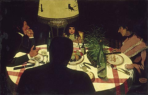 Felix Vollotton 1865-1925, Dinner by Lamplight, 1899