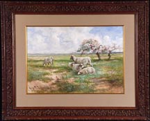 Hugo Anton Fisher Sheep in Spring Meadow Midsized Thumbnail
