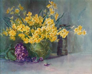 Yellow Daffodils Watercolor, 15 1/8 x 19 3/4 Anna Hills, 1882-1930