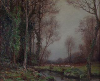 Wooded Stream and Sheep, 1924 Oil on canvas, 14 x 17 Anna Hills, 1882-1930