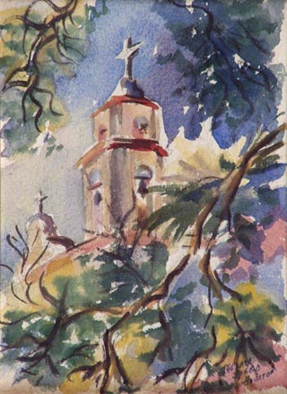 Bell Tower, San Luis Rey Mission Watercolor, 10 1/8 x 8 1/4 Thelma Speed Houston, 1914-2000