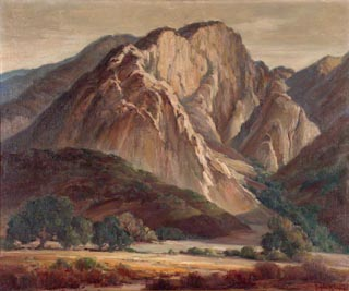 Valley Oaks and Mountain Oil on canvs, 25 x 30 Orpha Klinker, 1891-1964