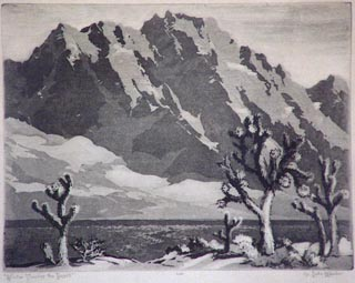 Winter Touches the Desert, #100 Etching, 6 3/4 x 9 Orpha Klinker, 1891-1964