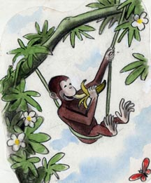 Curious George in a Swing