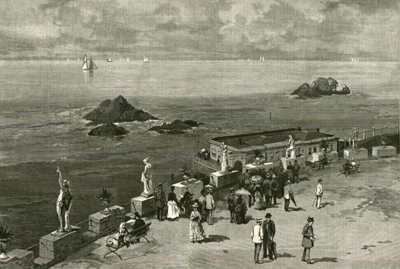 Charles Graham etching of the Cliff House and Sutro Park Harpers Weekly April 1887