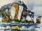 Robert Gray Watercolor Morro Rock