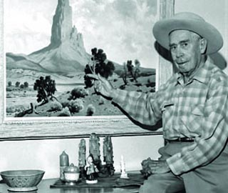 Jimmy Swinnerton with painting of Agathla Peak