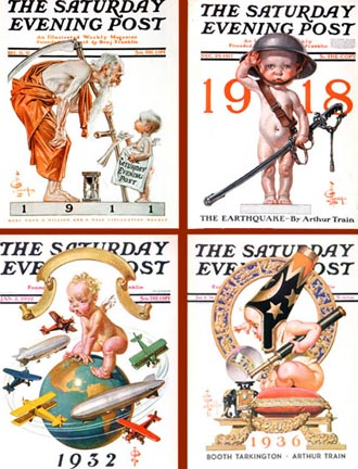 J C Leyendecker Sat Eve Post New Year's Covers