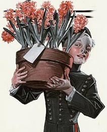 J C Leyendecker Bellboy with Mothers Day Plant