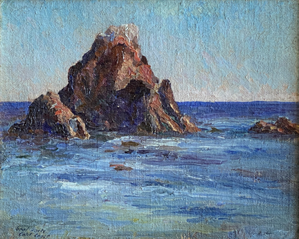 Bird and Seal Rocks, California (signed indistinctly, A.M. Hazard verso)