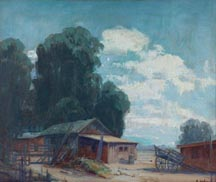Anna Hefner Clouds Eucalyptus and Ranch Sheds Midsized Thumbnail
