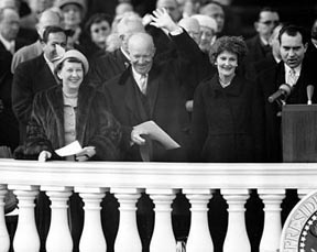 Eisenhowers and Nixons at the Swearing In 1957