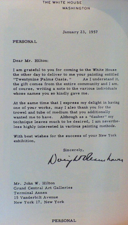 Eisenhower Letter of Gratitude of Painting Given on the occasion of Ike's Innauguration in 1953