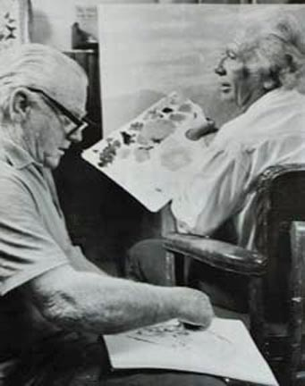 James Cagney and John W. Hilton Painting and Sketching