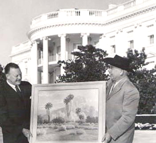 John W. Hilton offering a gift to adorn President Eisenhower's Oval Office on Inauguration Day, 1957.