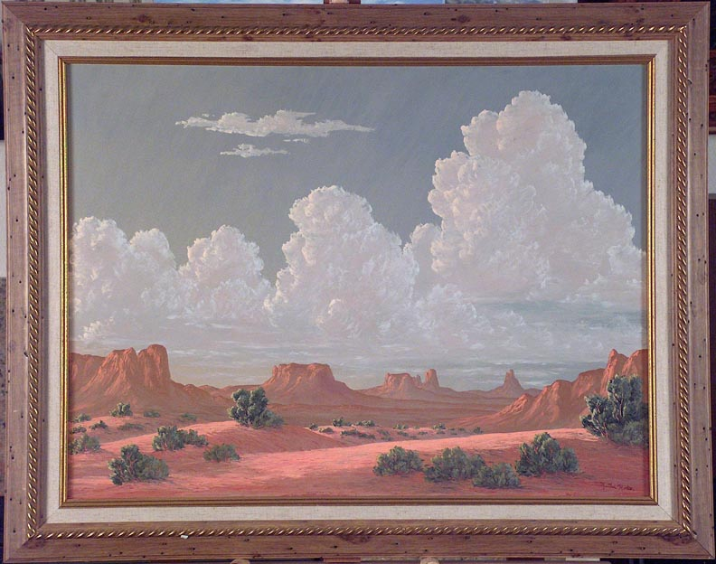 Kathi Hilton Monument and Clouds with vintage Frame