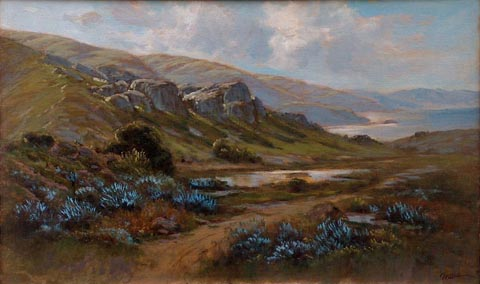 Lupines on the Northern Coast Manuel Valencia 1856-1935 oil on canvas, 22 x 36