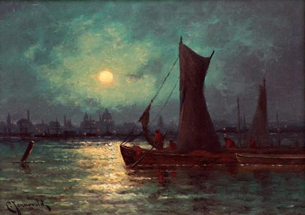 "Carl Jonnevold ""Moonrise over the River Thames in London""  Oil on canvas, 13 x 18  $8,500"