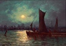 Carl Henrik Jonnevold Moonrise over the River Thames Midsized Thumbnail