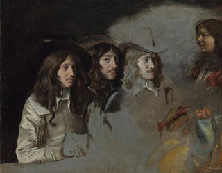 Three Men and a Boy, 1640-1645 generally thought to be an unfinsiehd portrait  of the Three Le Nain Brothers National Gallery, London