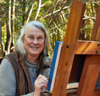 Linda Sorensen at Easel at Monte Rio Redwood Cabin Studio
