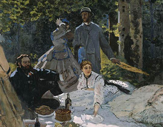 Claude Monet Luncheon on the Grass (Central Panel)  1865-66 age 26