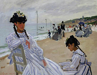 Claude Monet On the Beach at Trouville 1870 age 30