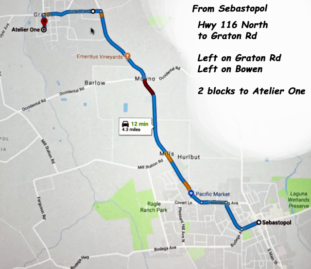 Map from Sebastopol to Atelier One in Graton