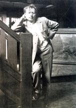 Jean Mannheim by Stairs in his Studio