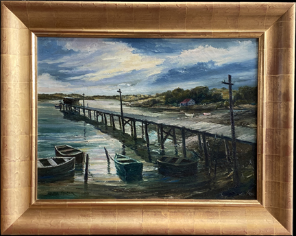 "Joshua Meador 1911-1965, ""Bodega Pier"" (Bodega Bay) # 277  courtesy of the Meador family  Oil on Linen, 20 x 27  $6,500"