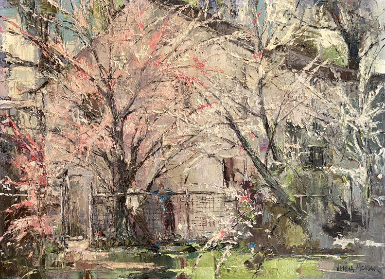Joshua Meador, Fountain of Spring, a scene of two figures below two flowering trees, bursting forth with pinks and whites, as if they were fireworks.