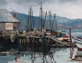 Joshua Meador Newport Harbor Oregon 20 x 26  Meador family collection