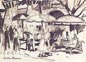 Joshua Meador Sketch: Outdoor Market 6 x 8 1/4 Meador Family Collection