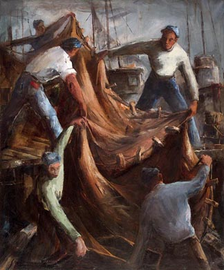 Joshua Meador Tending the Net 36 x 30 Meador family collection