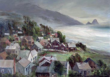 Joshua Meador Village by the Ocean 24 x 34 Haystack Rock, Cannon Beach, Oregon