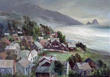 Joshua Meador Village by the Sea Haystack Rock Cannon Beach Oregon Midsized Thumbnail