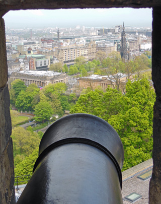 View of National Gallery of Scotland from a Cannon Mount in Edinburgh Castle