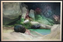 Alexander Nepote 1913-1986 Green Pool Grotto Layerist Mixed Media, 31x 48