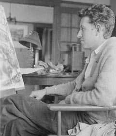 Alexander Nepote at his easel in his studio