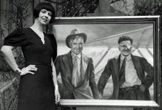 Orpha Klnker with her posthumus portrait of Will Rogers and Wiley Post