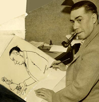 Jimmy Swinnerton creating a self caricature