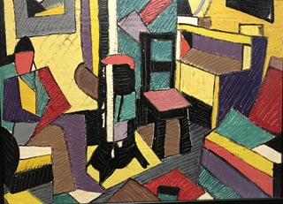 Ella Moen Odorfer, 1901-1986 Untitled, Cubist Interior with Figure, nd Private Collectin