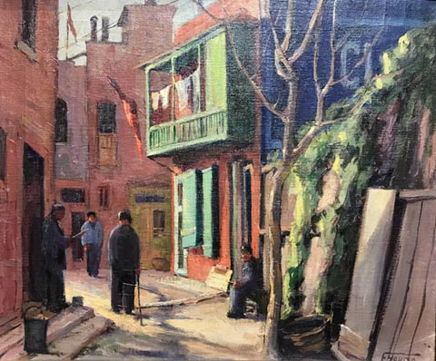 Florence Young, 1872-1974 Street scene with four figures, c1932 Pomona College Museum of Art