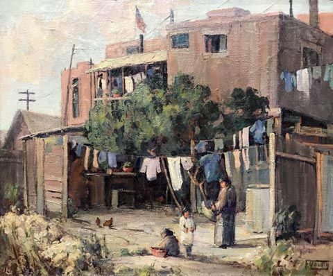 Florence Young, 1872-1974 Chinatown scene with hanging laundry, c1932 Pomona College Museum of Art