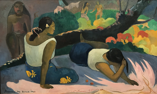Reclining Tahitian Women or The Amusement of the Evil Spirit, 1894 Painted in Pont-Aven, Brittany after 2 years in Tahiti, Ny Carlsberg Glllypothek